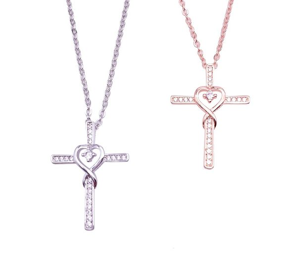 Sterling Silver Cross With Infinity Necklace