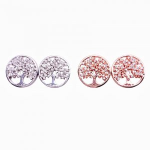 Sterling Silver Tree of Life Stud Earrings-main