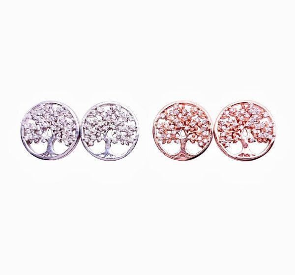 Sterling Silver Tree of Life Stud Earrings-main