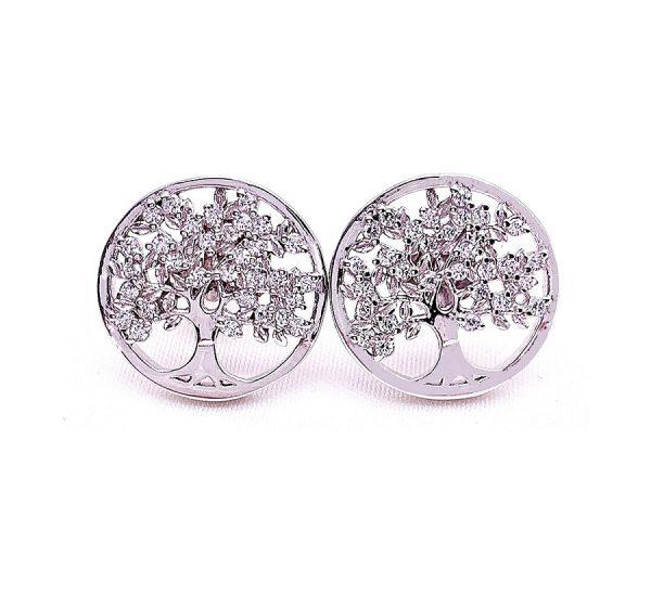 Sterling Silver Tree of Life Stud Earrings
