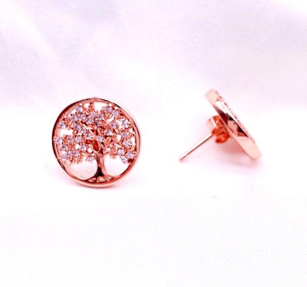 Sterling Silver Tree of Life Stud Earrings-pink