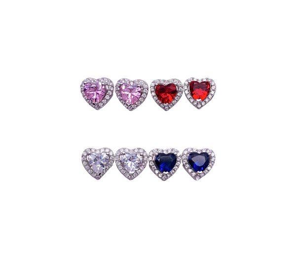 Sterling Silver Colored Vintage Look Heart Stud Earrings