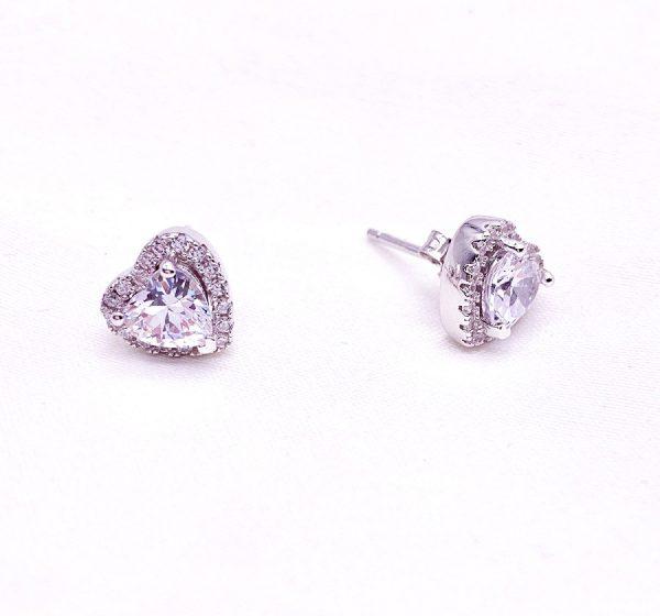 Sterling Silver Colored Vintage Look Heart Stud Earrings-white