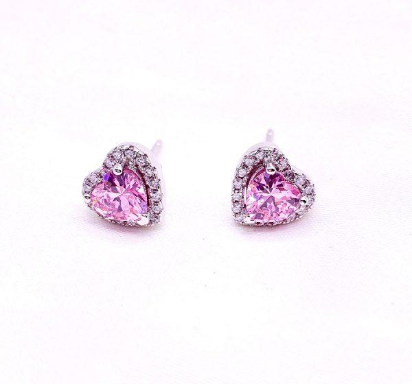 Sterling Silver Colored Vintage Look Heart Stud Earrings-pink-