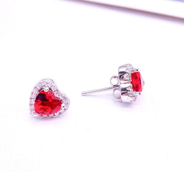 Sterling Silver Colored Vintage Look Heart Stud Earrings-red