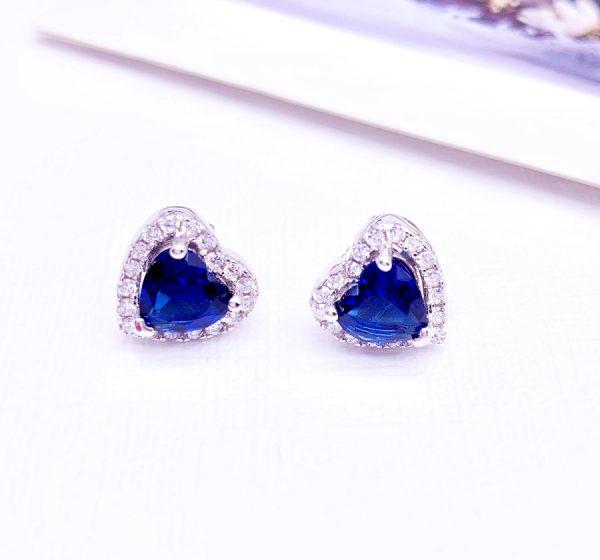 Sterling Silver Colored Vintage Look Heart Stud Earrings-blue