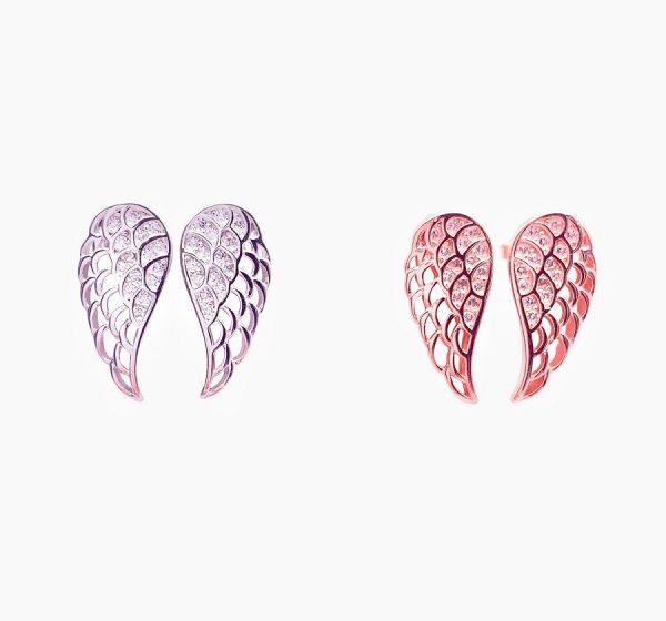 Sterling Silver Angel Wings Stud Earrings