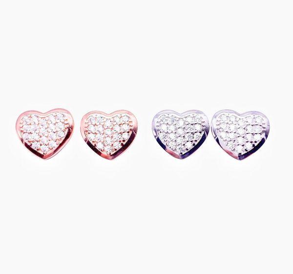 Sterling Silver Love Heart Stud Earrings-rose-silver