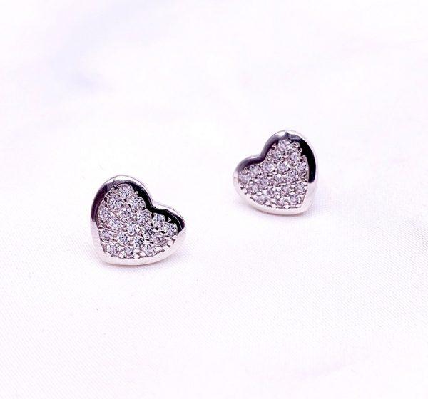 Sterling Silver Love Heart Stud Earrings-silver