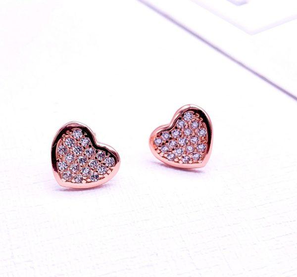 Sterling Silver Love Heart Stud Earrings-rose