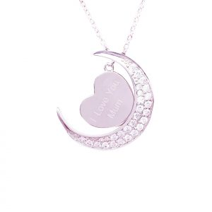 Sterling Silver Moon with CZ Stone and Heart Necklace