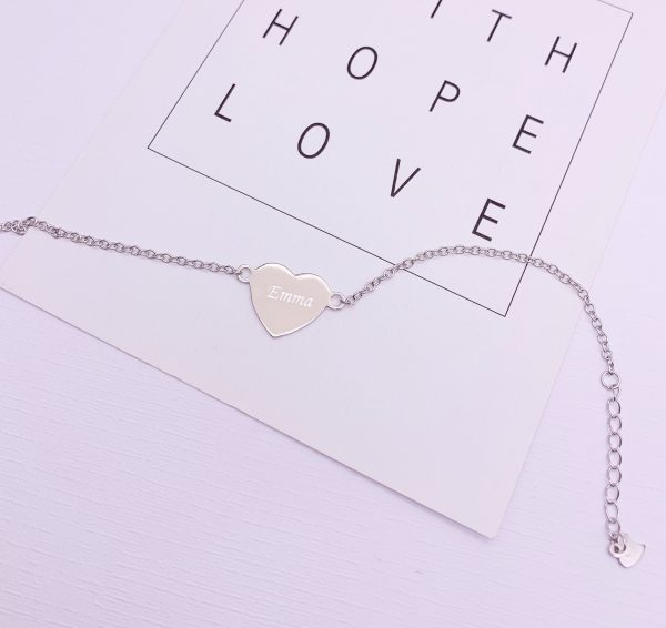 Sterling Silver Heart Bracelet with Engraving