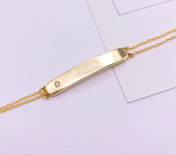 Sterling Silver bar Birthstone Bracelet with Engraving