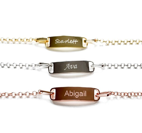 Sterling Silver Children's ID Bracelet with Engraving
