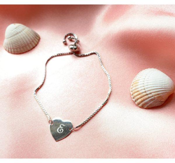 Sterling Silver Children's Adjustable Heart Bracelet with Engraving