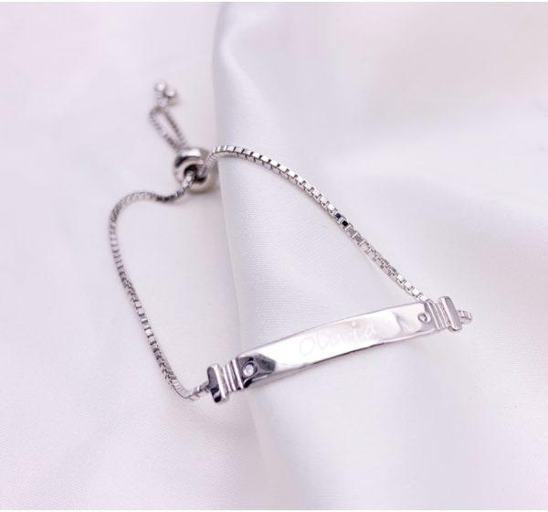 Sterling Silver Children's Adjustable ID Bracelet with Engraving