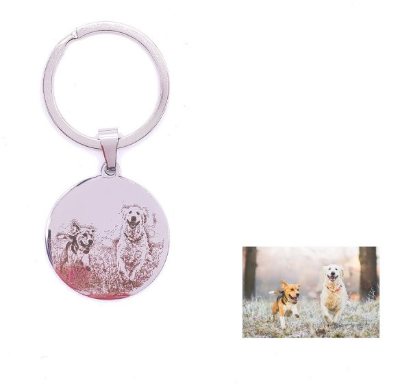 Round Tag Key Ring For Photo Engraving
