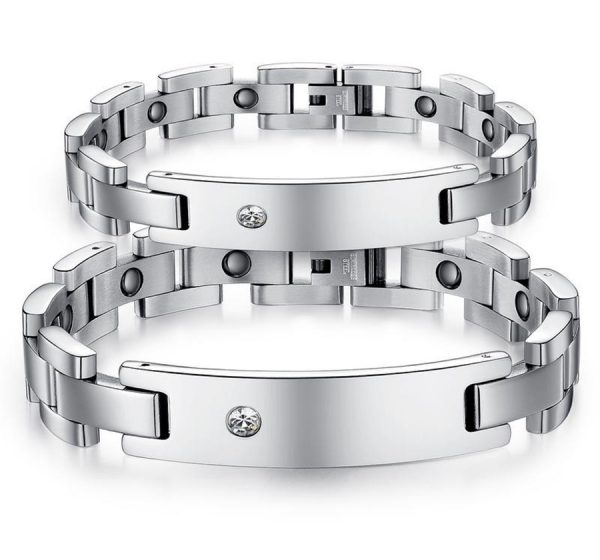 Mens Magnetic ID Bracelet with CZ Stone