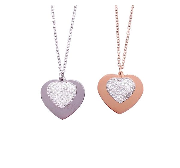 Stainless Steel Sparkly Heart Necklace with Engraving
