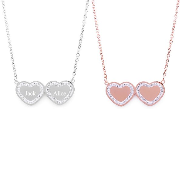Stainless Steel Double Hearts Necklace with CZ Stone