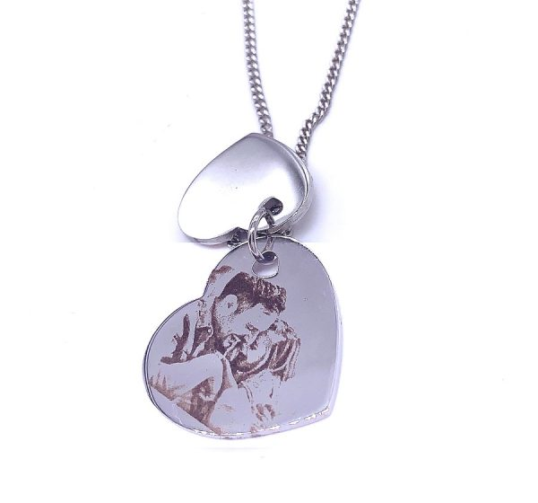 Double Heart Photo Engraving NecklaceDouble Heart Photo Engraving Necklace