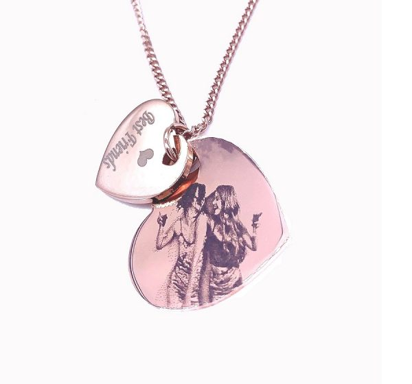 18K Rose Gold Plated Double Heart Photo Engraving Necklace