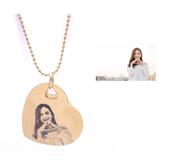 18K Gold Plated Double Heart Photo Engraving Necklace
