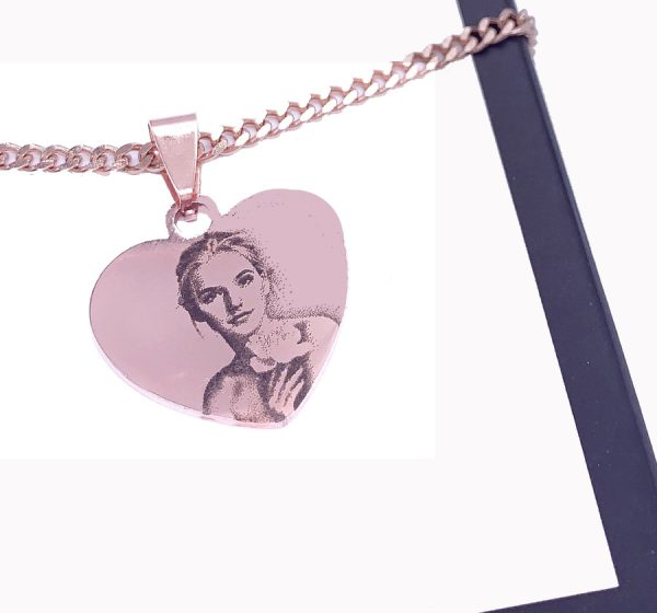 Heart Tag Photo Engraving Necklace