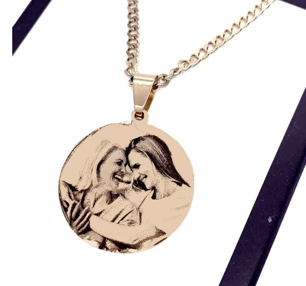 Round Tag Photo Engraving Necklace