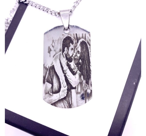 Dog Tag 22mmX40mm Photo Engraving Necklace