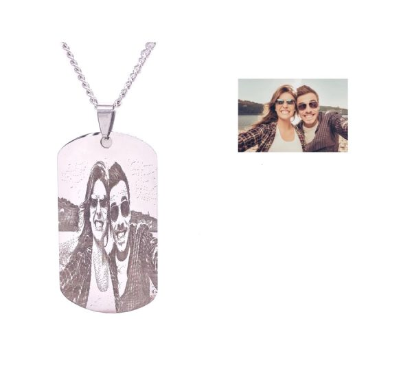 Description ⦁ Measurement: Diameter 28mm X 50mm ⦁ Chain Size: 22 inch ⦁ Material(Made From): Stainless Steel ⦁ Color: Silver ⦁ Free Photo and Message Engraving