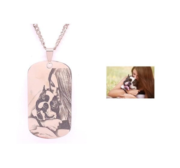 Dog Tag 28mmX50mm Photo Engraving Necklace