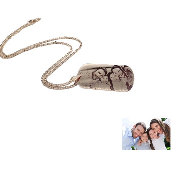 : Dog Tag 28mmX50mm Photo Engraving Necklace