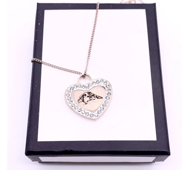 Heart Photo Engraving Necklace with CZ Stone