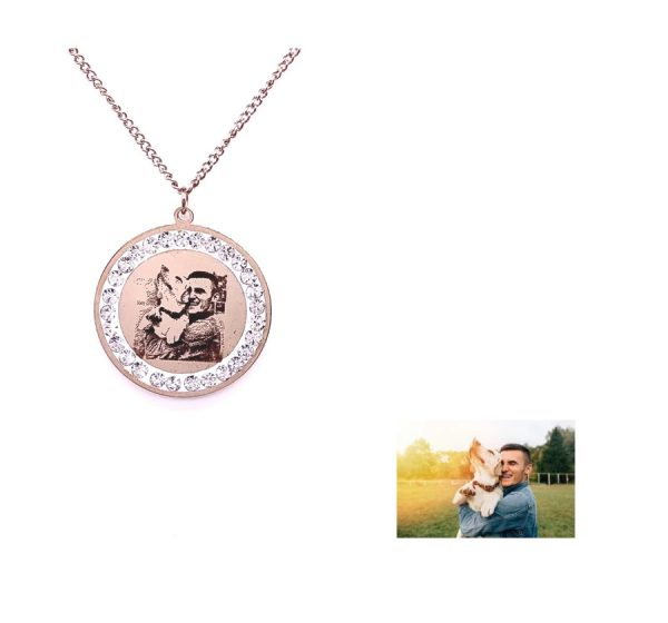 Round Photo Engraving Necklace with CZ Stone