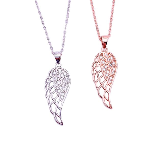 Sterling Silver Angel Wing Pendant & Necklace