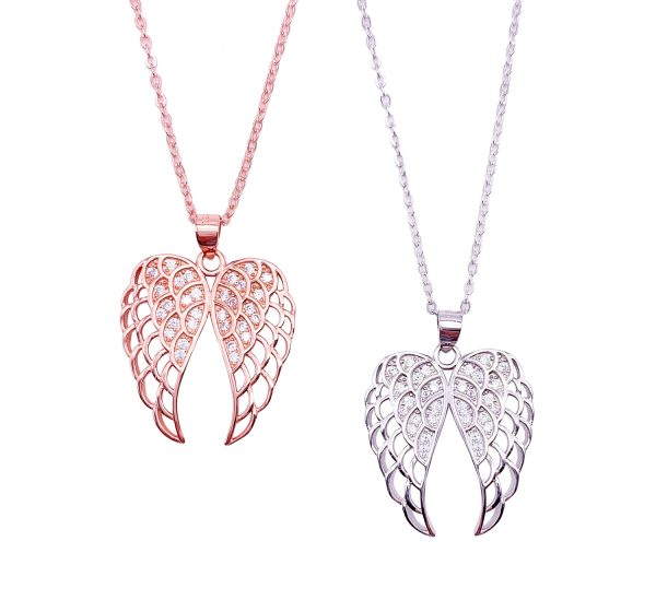 Sterling Silver Guardian Angel Wing Pendant & Necklace