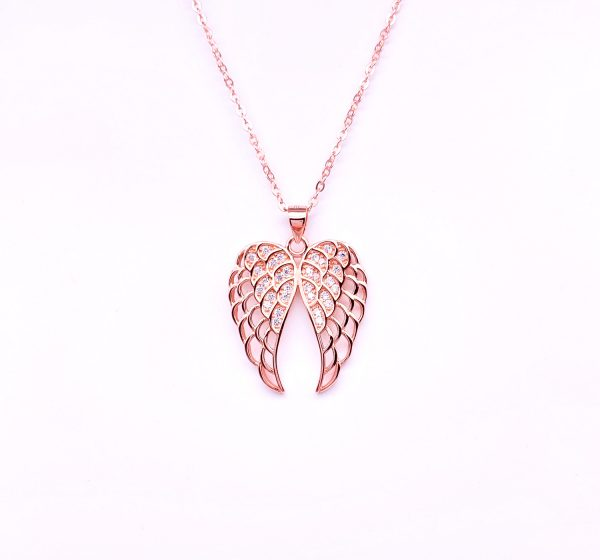 Sterling Silver Guardian Angel Wing Pendant&Necklace