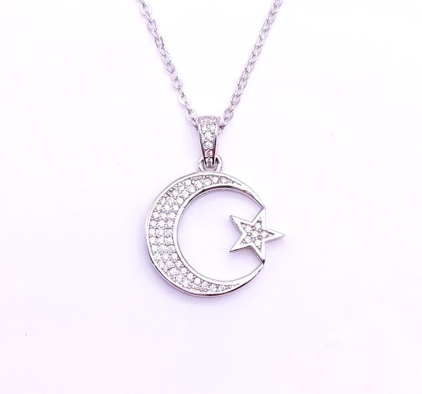 Sterling Silver Crescent Moon and Star Pendant&Necklace