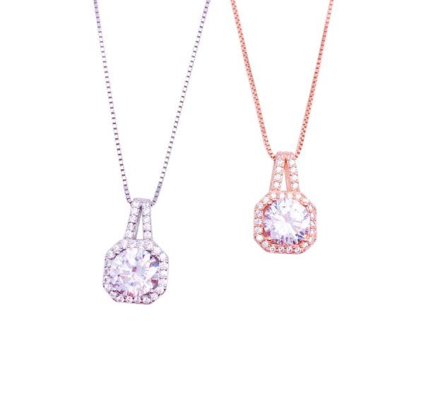 Sterling Silver Single Cubic Zirconia Pendant&Necklace
