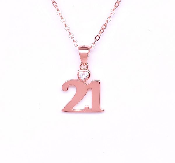 Sterling Silver 21 Zirconia Pendant & Necklace