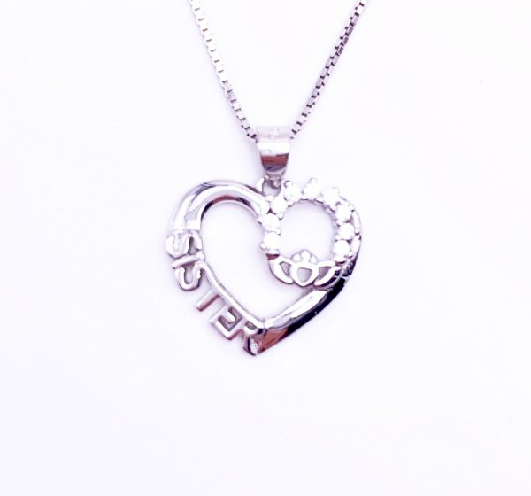 Sterling Silver Claddagh Sister Love Heart Pendant & Necklace