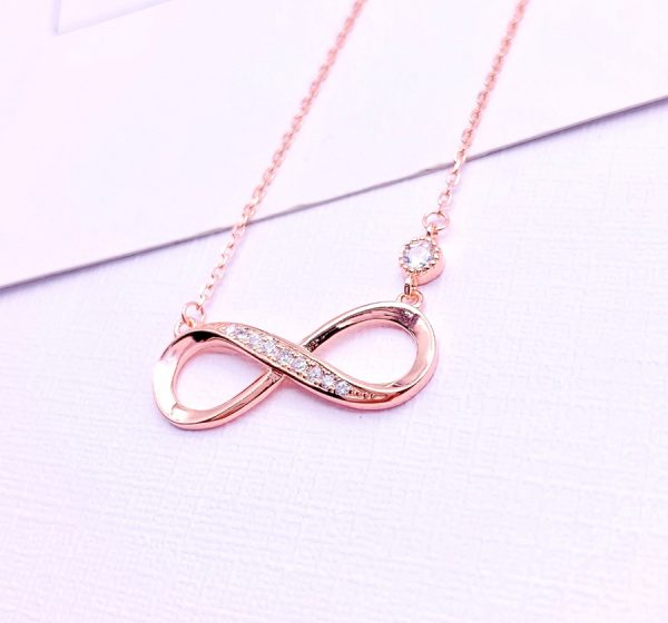 Sterling Silver Infinity With CZ Stone Necklace
