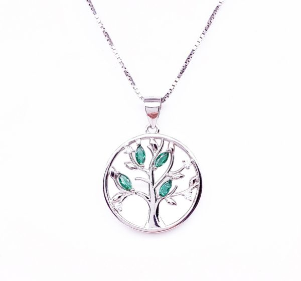 Sterling Silver Tree of Life with Green Crystal Pendant & Necklace