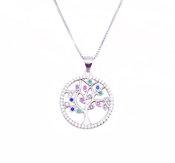 Sterling Silver Tree of Life with Color Crystal Stone Pendant & Necklace