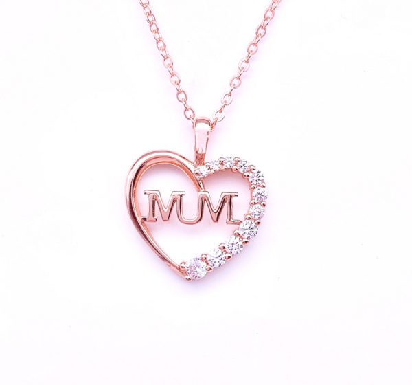 : Sterling Silver Crystal Love Heart with Mum Necklace