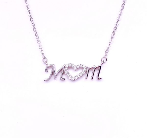 Sterling Silver Mum Necklace with Heart