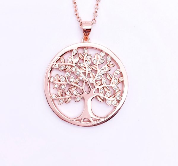 Sterling Silver Crystal Tree of Life Pendant&Necklace