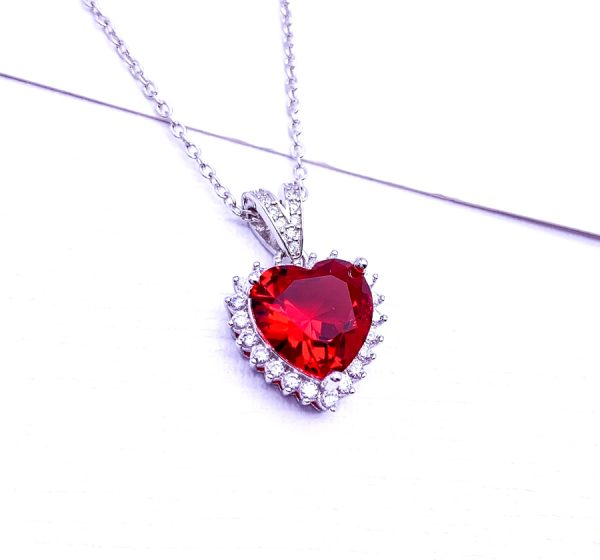 Sterling Silver Love heart Necklace with Colored Zirconia