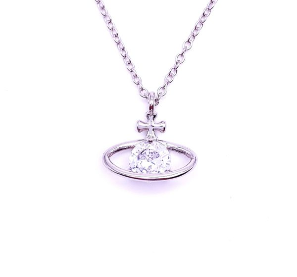 Sterling Silver Crystal Planet Pendant & Necklace
